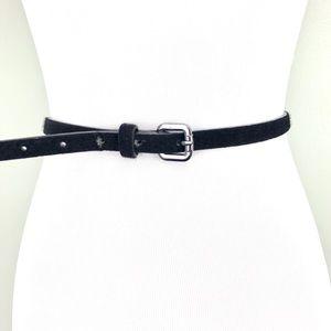 Aldo Faux Calf Hair Black Skinny Belt (M)